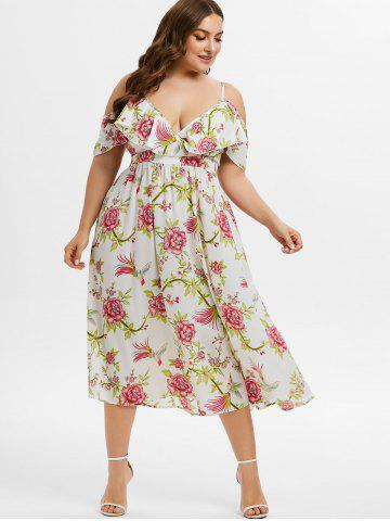 Plus Size Ruffled Open Shoulder Floral Print Dress