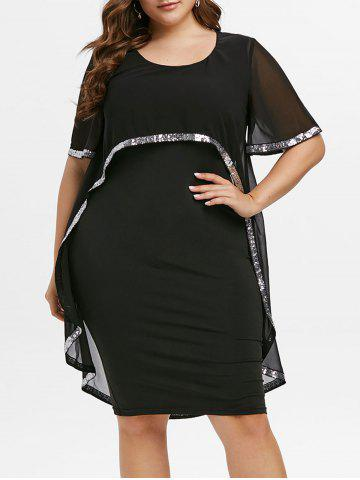 Plus Size Sequins OL Overlay Chiffon Bodycon Dress - BLACK - 5X