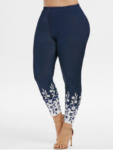 High Waisted Flower Plus Size Leggings - DEEP BLUE - 2X