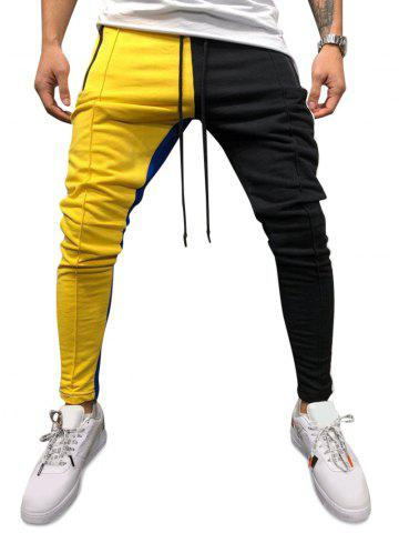 Pantalon de Survêtement Maigre Ajusté en Blocs de Couleurs à Cordon - YELLOW - XL