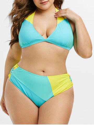 Plus Size Colorblock Bowknot Halter Bikini Swimwear - MACAW BLUE GREEN - L