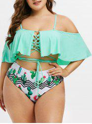 Plus Size Ruffled Cactus Print Lace Up Two Piece Swimsuit -