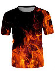 Fire Print Crew Neck Short Sleeve T Shirt -