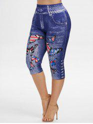 Plus Size American Flag Butterfly Print Capri Jeggings -