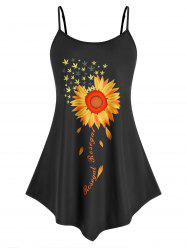 Plus Size Flower Print Backless Tunic Cami Tank Top -