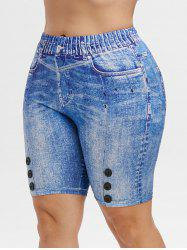 High Waisted 3D Printed Knee Length Plus Size Jeggings -