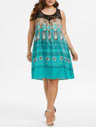 Plus Size Tribal Print Lace Insert Swing Dress -