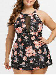 Mesh Panel Ruched Front Floral Plus Size Tankini Swimwear -