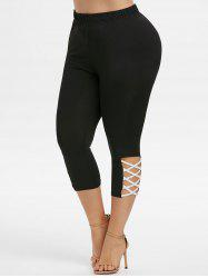Plus Size Crisscross Capri Leggings -