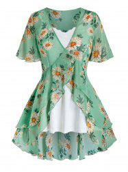 Plus Size Flower Print Flounce Blouse and Cami Top Set -