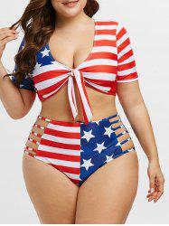 Knotted Laddering Cutout American Flag Plus Size Two Piece Swimwear -