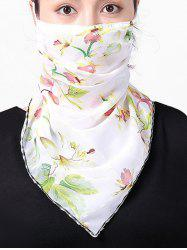 Chiffon Flower Printed Riding Mask Scarf -