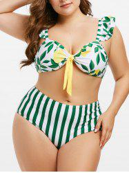Plus Size Stripe Leaves Print High Rise Bikini Swimwear -