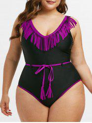 Plus Size Belted Fringe One-piece Swimsuit -