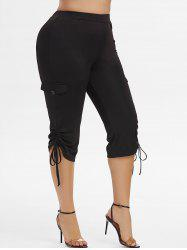 Plus Size Cinched Side Pockets Capri Pants -