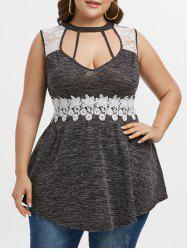 Plus Size Marled Contrast Lace Cutout Tank Top -
