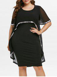 Plus Size Sequins OL Overlay Chiffon Bodycon Dress -
