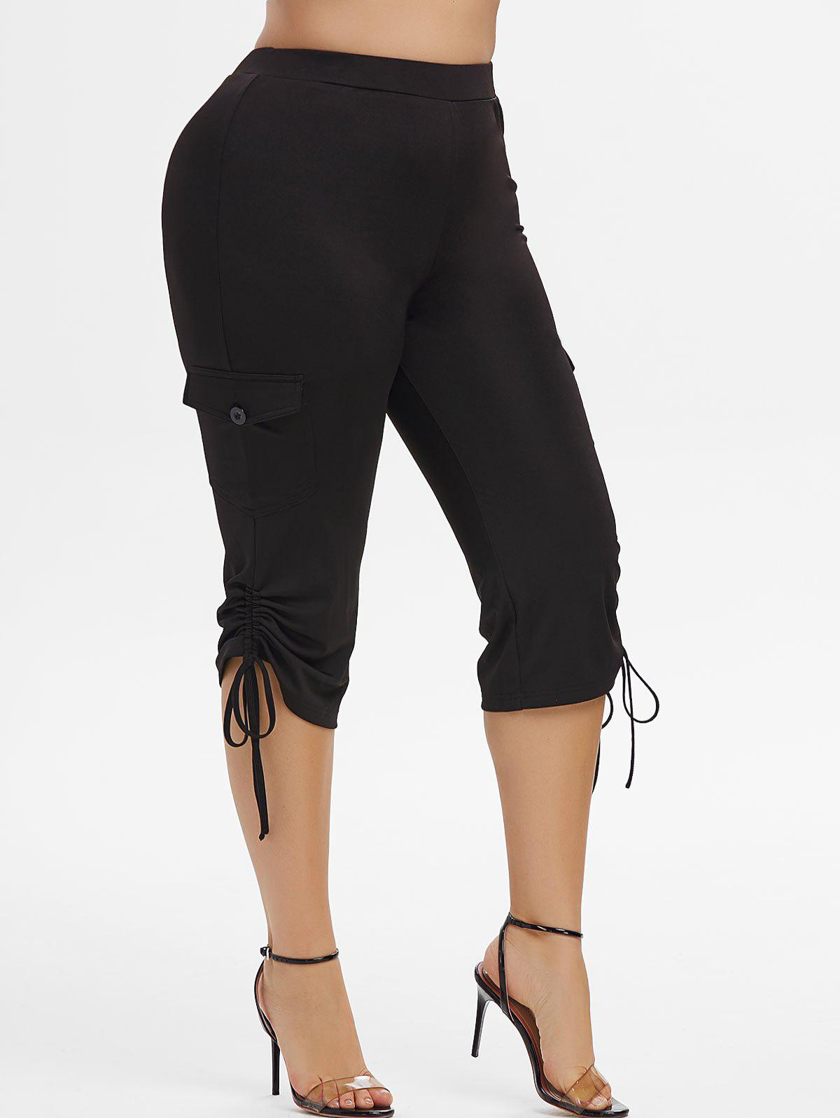 Buy Plus Size Cinched Side Pockets Capri Pants
