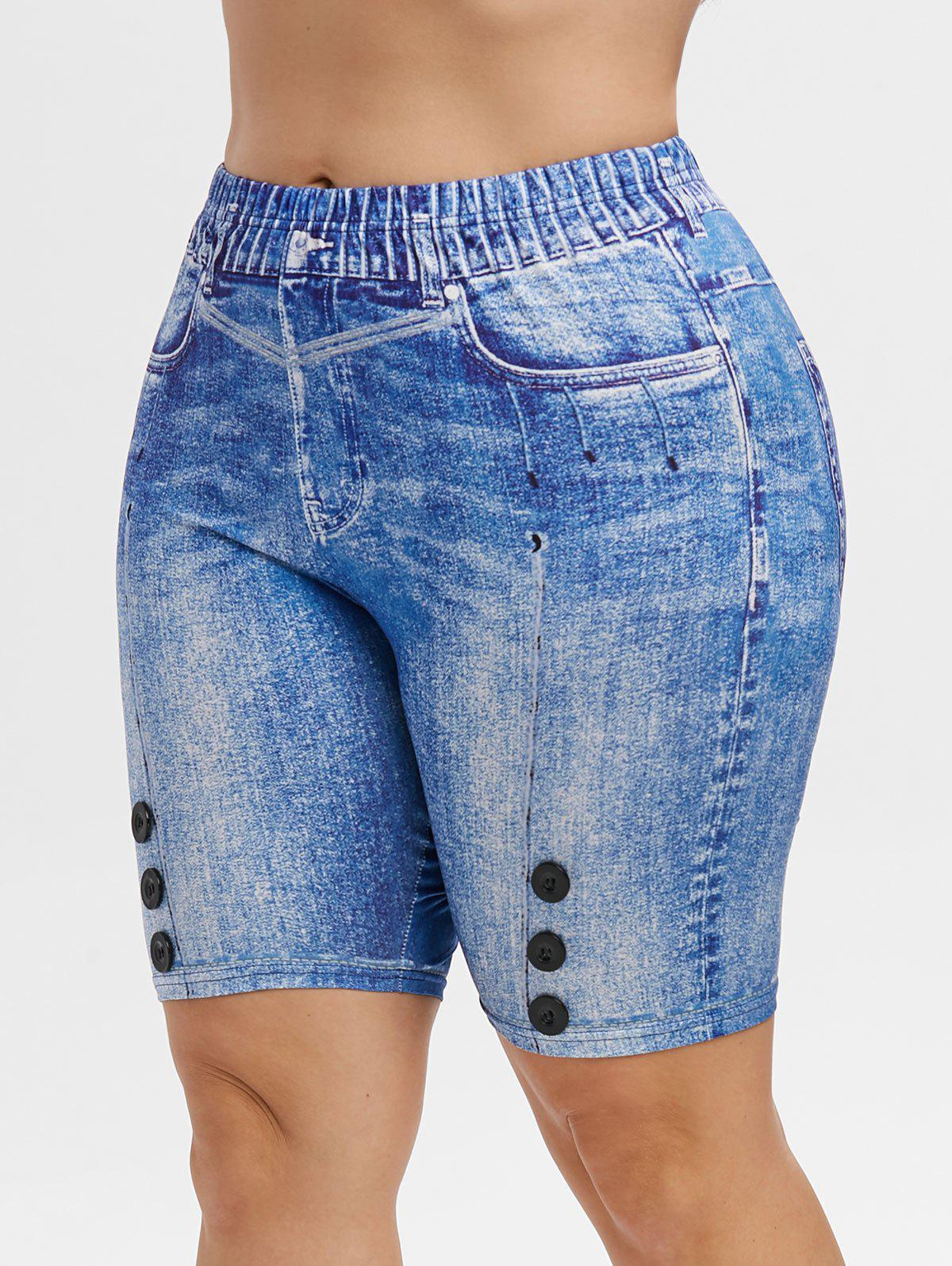 Hot High Waisted 3D Printed Knee Length Plus Size Jeggings