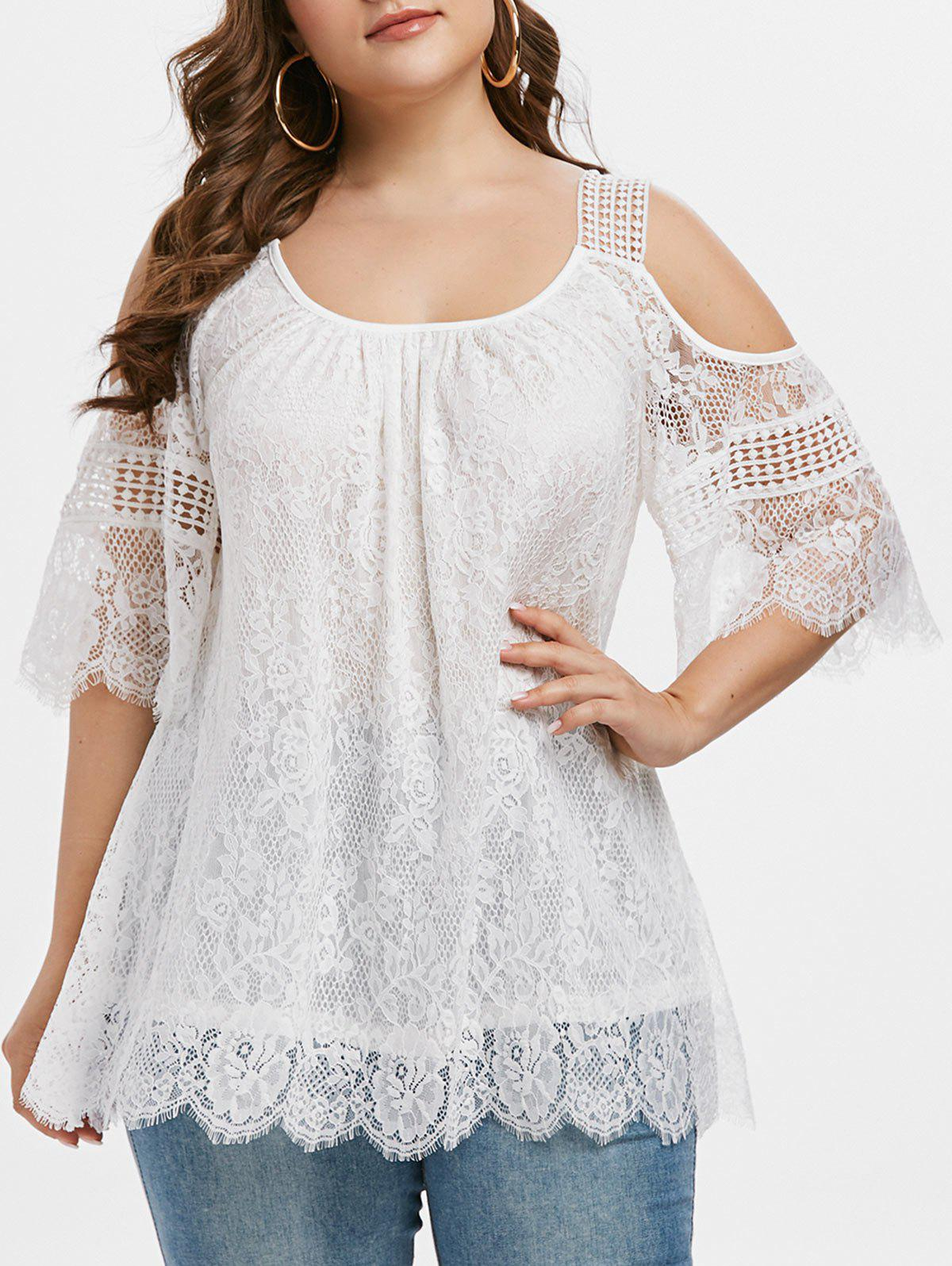 Plus Size Lace Cold Shoulder Blouse фото