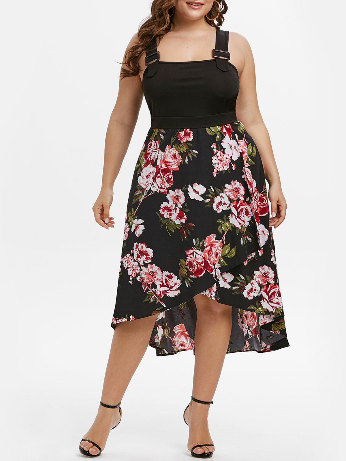 Plus Size Buckles High Low Floral Print Dress Rosegal