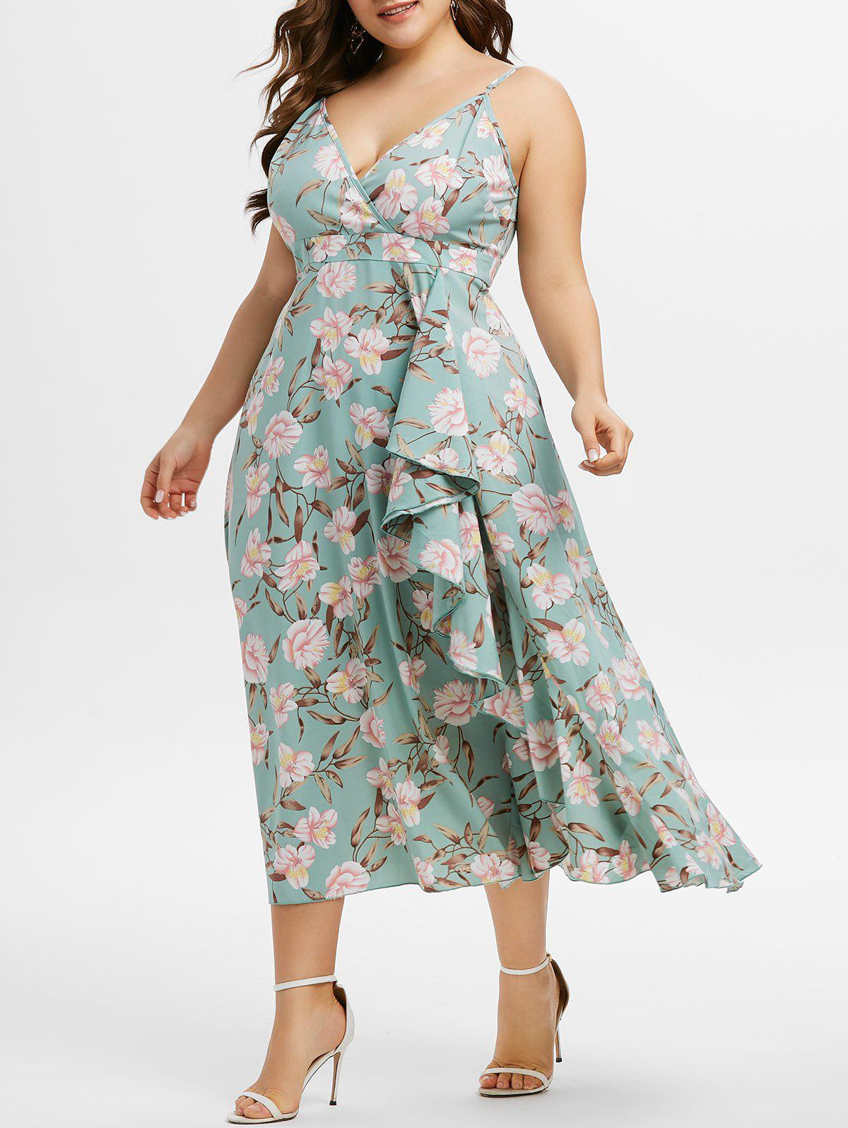 Plus Size Flower Print Surplice Flounce Cami Midi Dress Rosegal