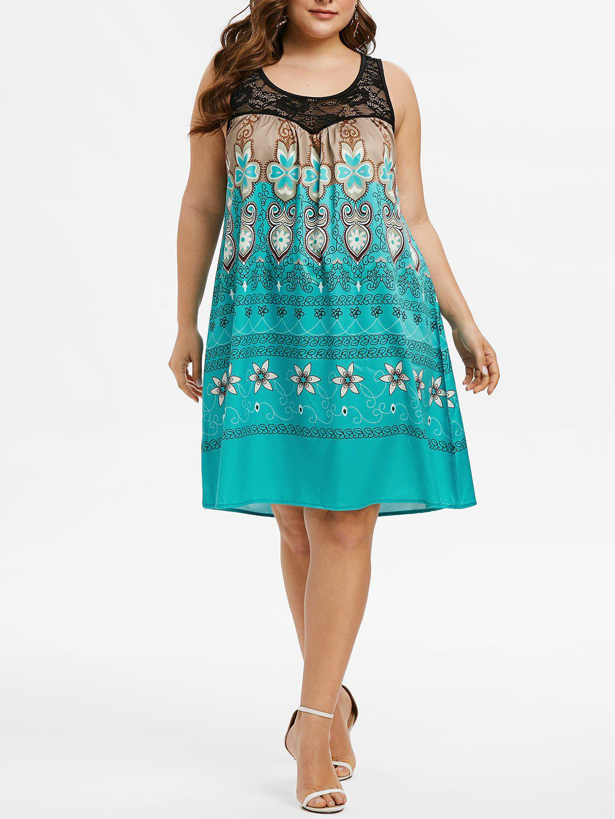 Online Plus Size Tribal Print Lace Insert Swing Dress