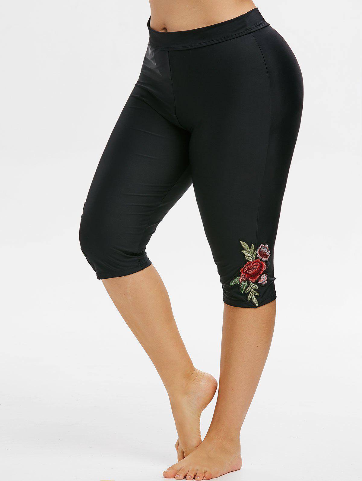 High Waisted Floral Embroidered Plus Size Swim Bottom Rosegal