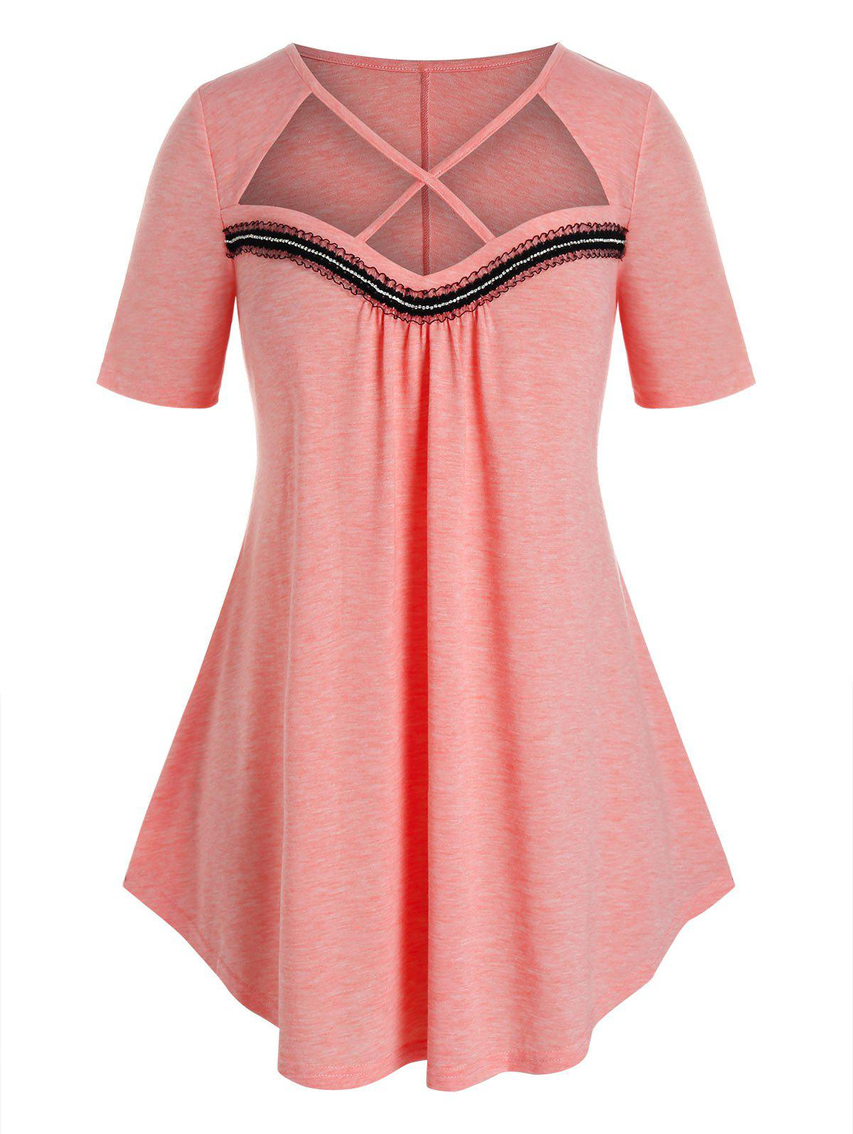Plus Size Criss Cross Cutout Frilled Detail Tunic Tee фото