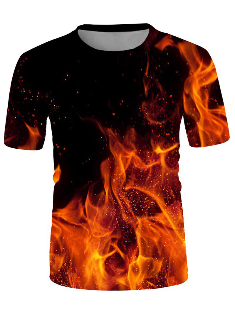 Shops Fire Print Crew Neck Short Sleeve T Shirt