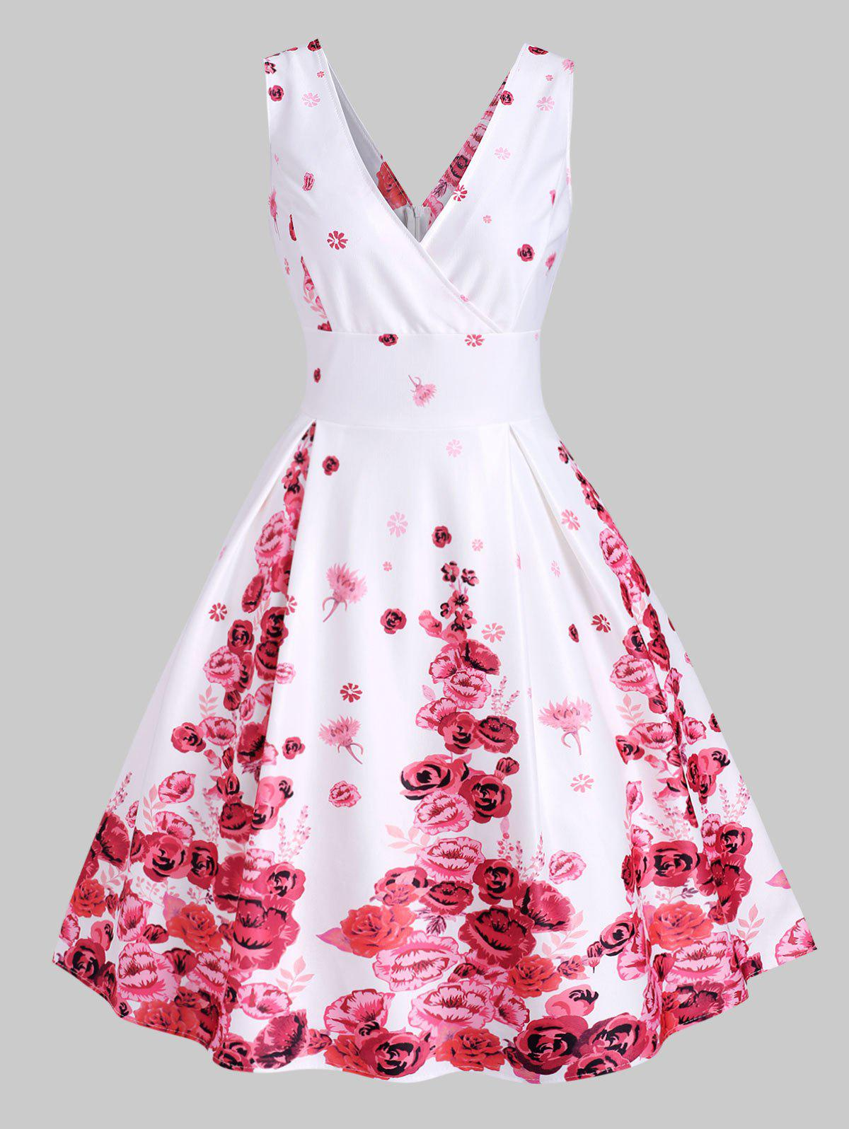 Chic Floral Print Empire Waist Plunging Dress