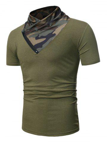 Camo Panel Short Sleeves Tee with Zipper - ARMY GREEN - XS