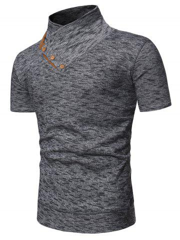 Shawl Collar Marled Tee with Buttons - GRAY - 3XL