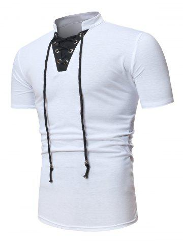 Short Sleeve Lace-up Contrast T-shirt - WHITE - XS