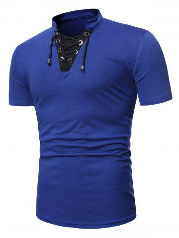 Short Sleeve Lace-up Contrast T-shirt - BLUE - S