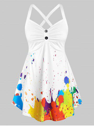 Plus Size Splatter Paint Crisscross Ruched Tunic Tank Top - WHITE - 2X