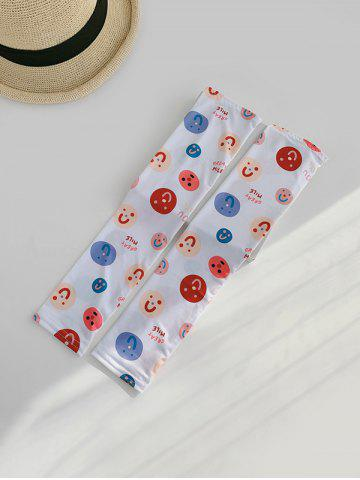 Cartoon Face Driving Arm Sleeves Gloves - WHITE