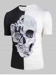 Rose Skull 3D Print Two Tone T-shirt -