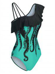 Octopus Print Skew Neck Flounce One-piece Swimwear -