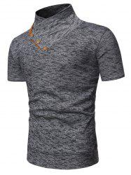 Shawl Collar Marled Tee with Buttons -