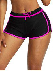 Drawstring Contrast Trims Swim Shorts -