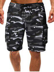 Drawstring Camo Cargo Shorts with Pockets -