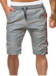 Side Striped Houndstooth Print Drawstring Casual Shorts -