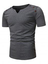 Short Sleeves Marled Tee with Buttons -