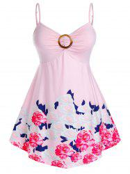Plus Size Flower Print Ring Backless Tunic Cami Tank Top -