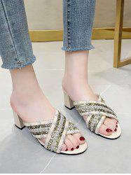 Criss Cross Beads Chunky Heel Slides Sandals -