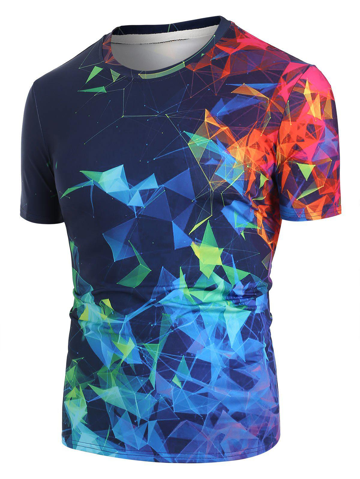 Sale Colorful Geometric 3D Print Short Sleeve T-shirt