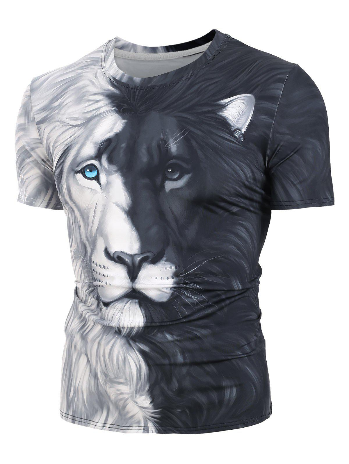 Outfit Two Tone Lion 3D Print Short Sleeve T-shirt