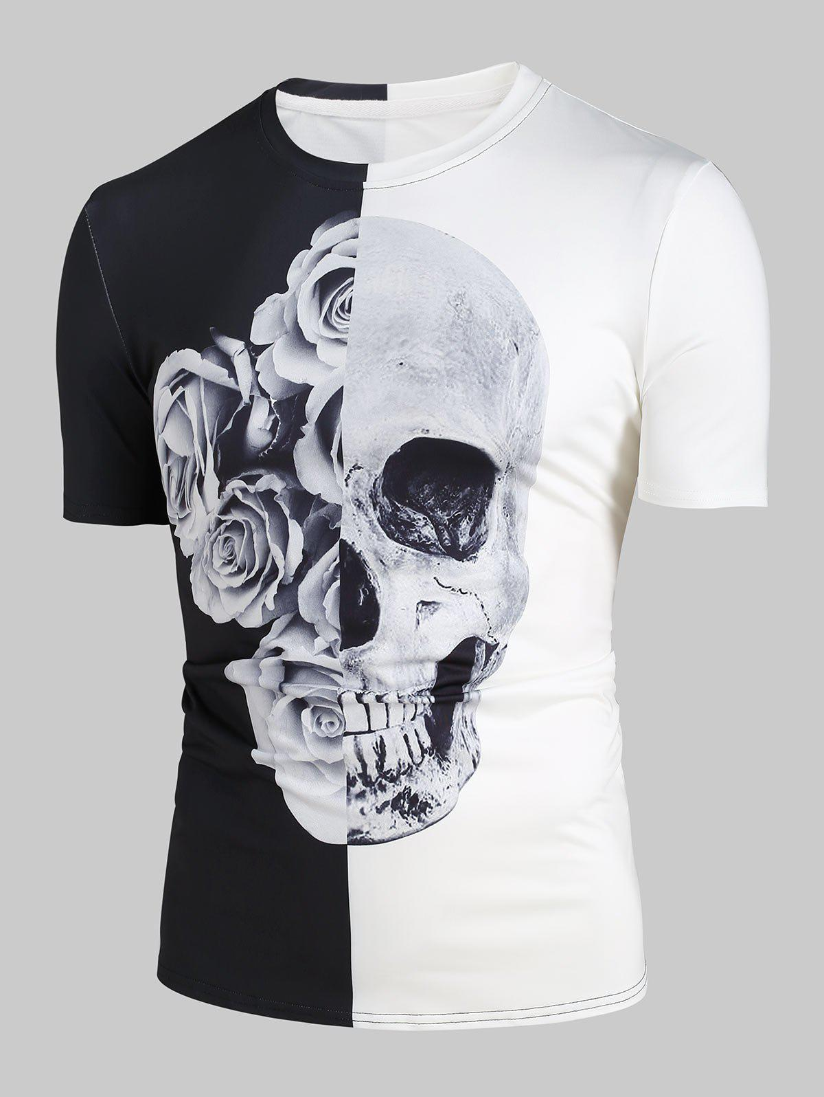 Hot Rose Skull 3D Print Two Tone T-shirt