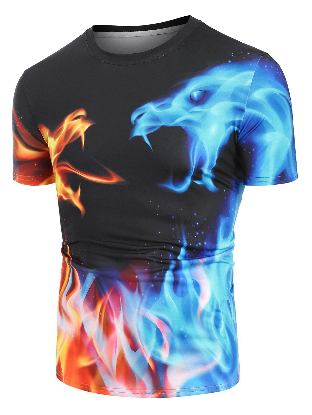 Online Fire and Ice Dragon Graphic Basic T-shirt